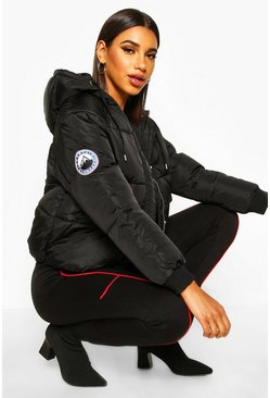 Womens Black Hooded Quilted Puffer