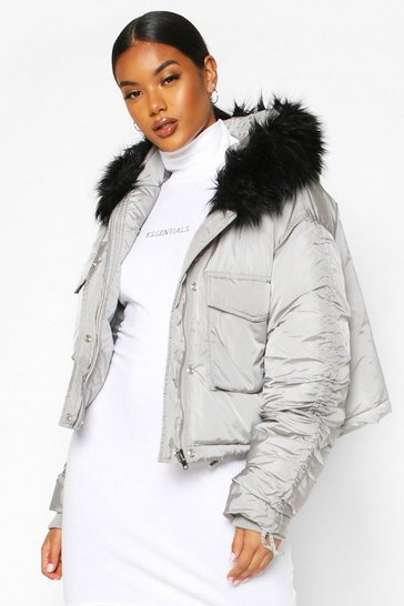 Womens Grey Crop Ruched Sleeve Faux Fur Trim Puffer