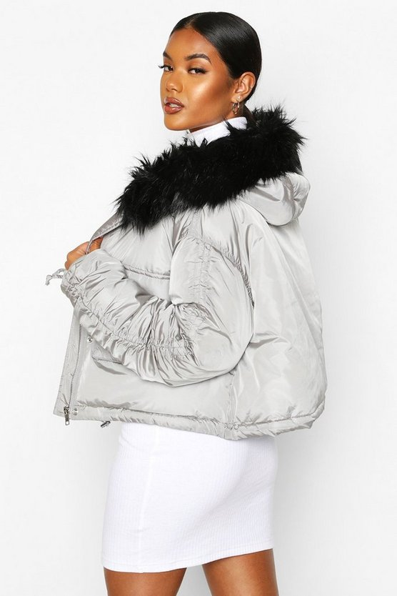 Crop Ruched Sleeve Faux Fur Trim Puffer