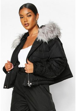 Womens Black Crop Ruched Sleeve Faux Fur Trim Puffer