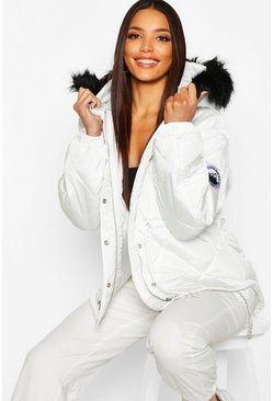 White Faux Fur Trim Synch Waist Puffer