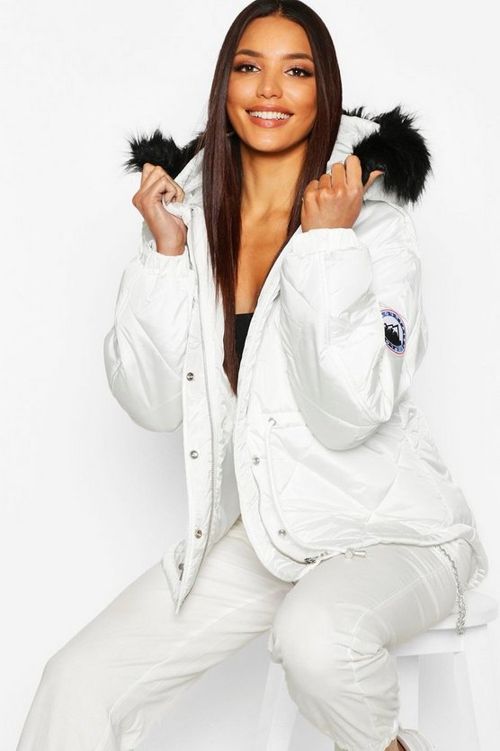 Faux Fur Trim Synch Waist Puffer
