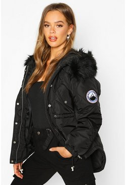 Womens Black Faux Fur Trim Synch Waist Puffer