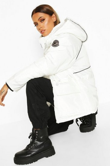 White Contrast Piping Synch Waist Parka