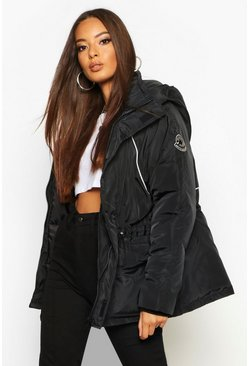 Womens Black Contrast Piping Synch Waist Parka