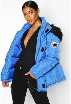 Womens Blue Faux Fur Trim Sporty Parka