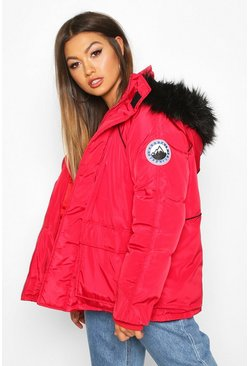 Womens Red Faux Fur Trim Sporty Parka