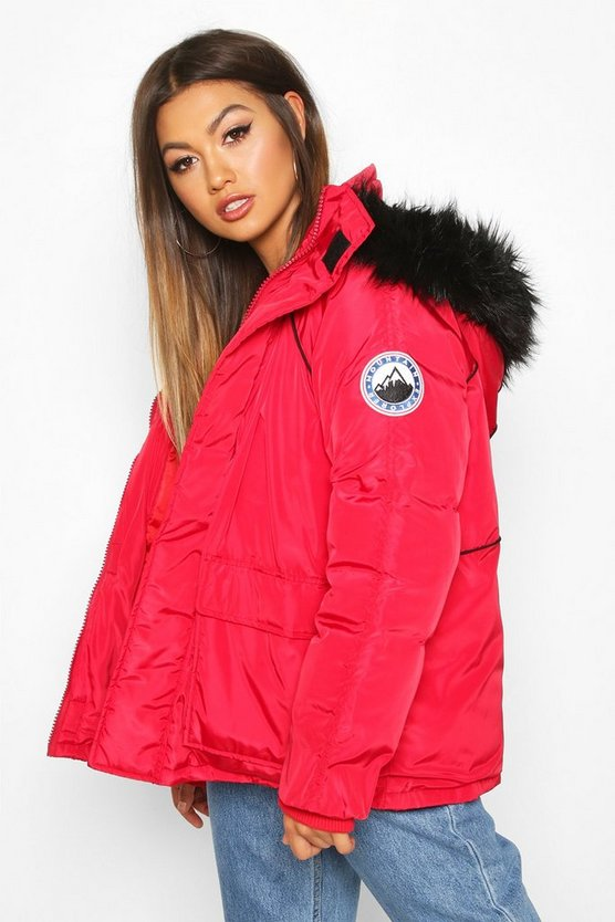 Faux Fur Trim Sporty Parka