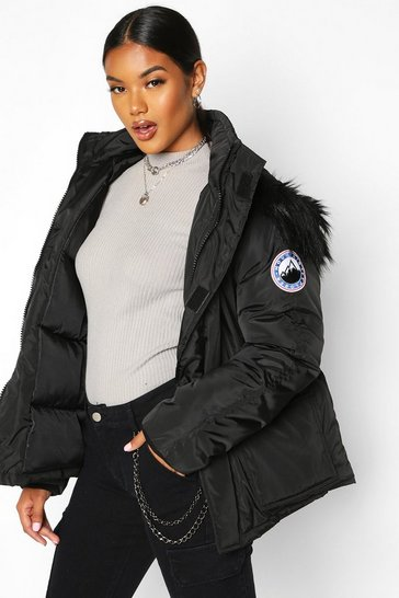 Black Faux Fur Trim Sporty Parka