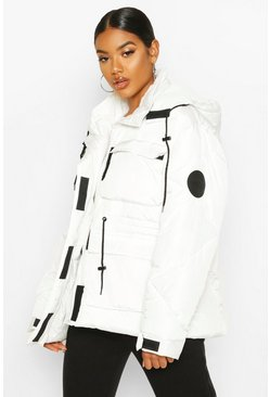 White Pocket Detail Sporty Parka