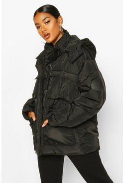 Dam Black Pocket Detail Sporty Parka