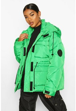 Green Pocket Detail Sporty Parka