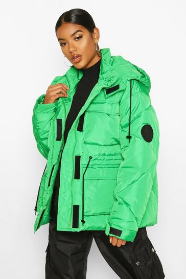 Womens Green Pocket Detail Sporty Parka