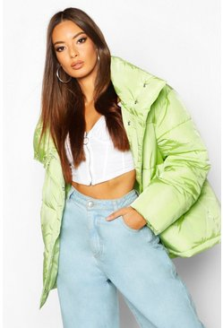 Womens Soft lime Funnel Neck Oversized Puffer