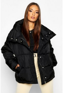 Womens Black Funnel Neck Oversized Puffer