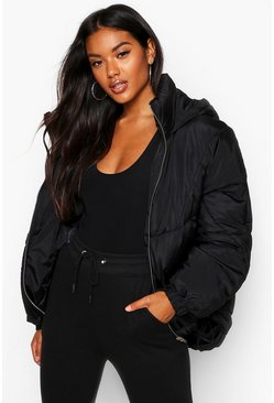 Womens Black Hooded Quilt Detail Puffer
