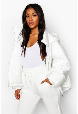 Womens White Hooded Quilt Detail Puffer