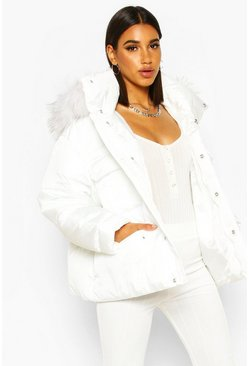 Womens White Sporty Faux Fur Trim Puffer
