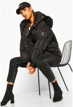Womens Black Sporty Faux Fur Trim Puffer