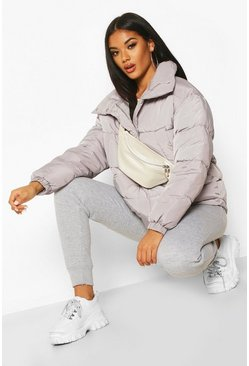 Grey Panelled Funnel Neck Puffer