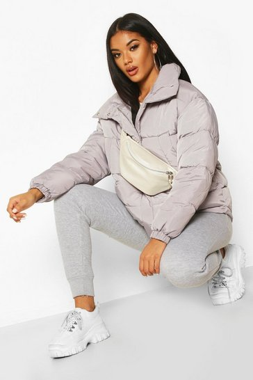 Womens Grey Panelled Funnel Neck Puffer