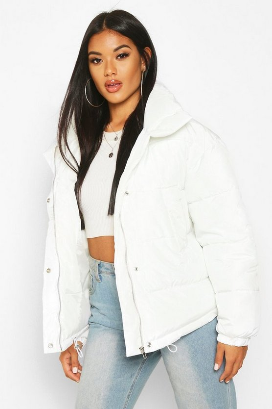 Womens Off white Panelled Funnel Neck Puffer