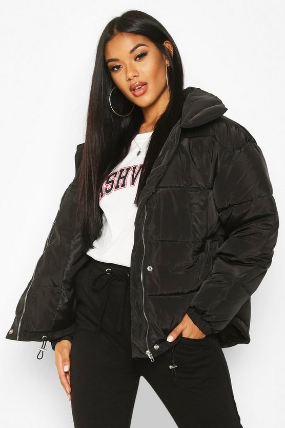 Black Panelled Funnel Neck Puffer