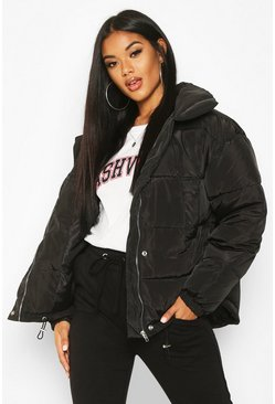 Womens Black Panelled Funnel Neck Puffer