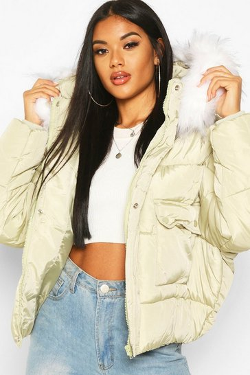 Womens Sage Quilted Faux Fur Hooded Puffer