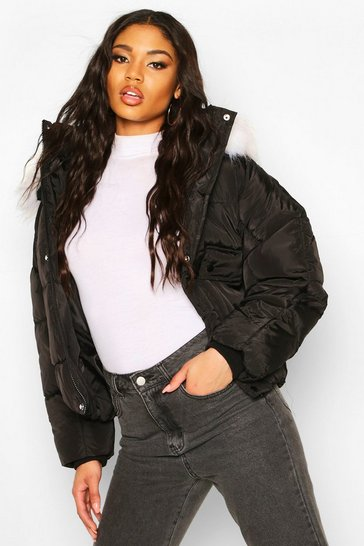 Womens Black Quilted Faux Fur Hooded Puffer