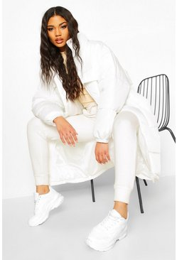 Womens Off white Oversize Panelled Longline Puffer