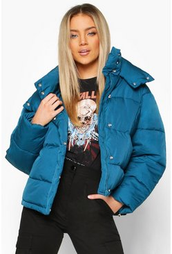 Womens Petrol Collar Detail Puffer Jacket