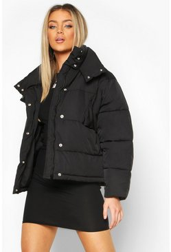 Womens Black Collar Detail Puffer Jacket