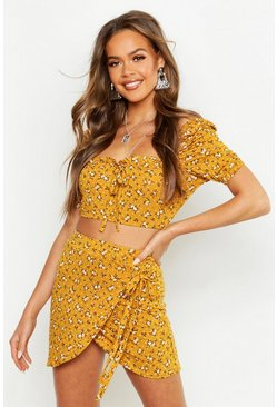 Womens Mustard Ditsy Print Top & Wrap Skort Co-Ord