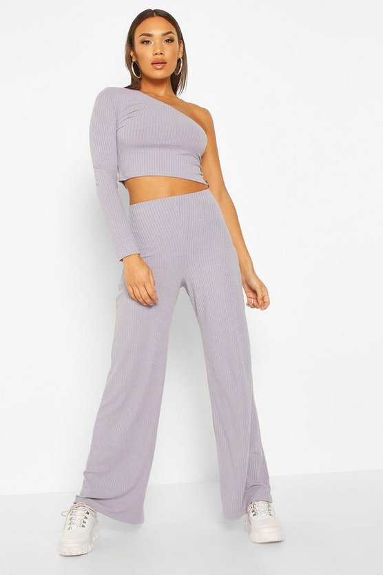 Grey One Shoulder Ribbed Top & Pants Co-Ord