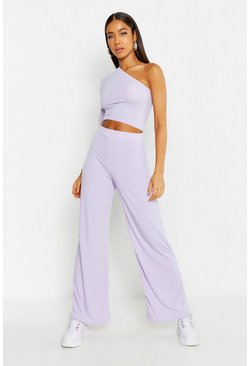 Dam Lilac One Shoulder Ribbed Top & Trouser Co-Ord