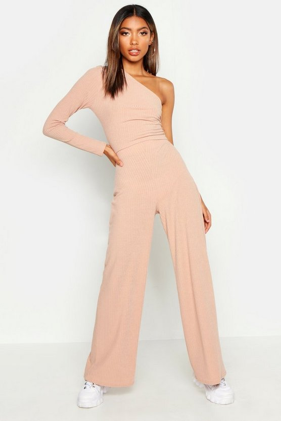 Womens Stone One Shoulder Ribbed Top & Pants Co-Ord