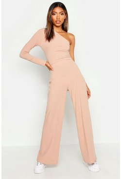 Womens Stone One Shoulder Ribbed Top & Trouser Co-Ord