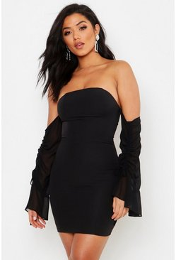 Black Chiffon Sleeve Bardot Dress