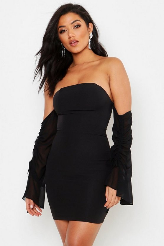 Womens Black Chiffon Sleeve Bardot Dress