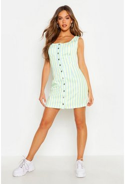 Womens Yellow Striped Cord Pinafore Dress
