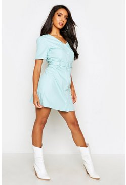 Womens Sage Button Through Cotton Shift Dress