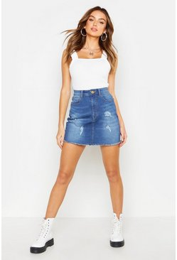 Womens Dark wash Distressed Stretch Denim Mini Skirt