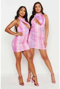 Womens Pink Snake Print High Neck Cut Out Bodycon Dress