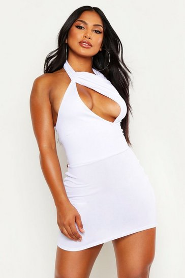 Womens White High Neck Cut Out Detail Bodycon Mini Dress