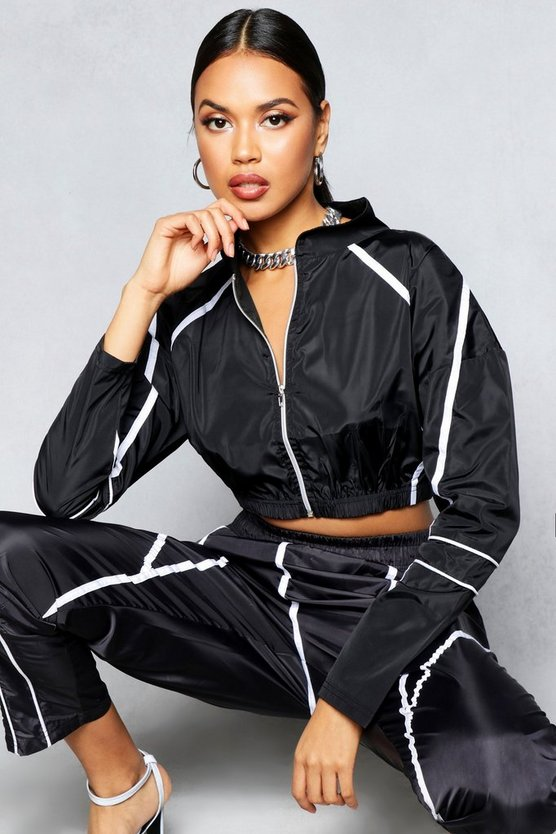 Black Zip Through Contrast Piping Shellsuit Jacket