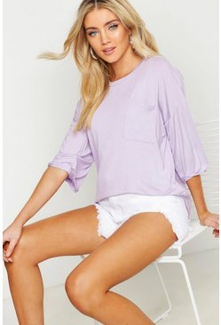 Womens Lilac Basic Pocket Detail Oversized T-Shirt