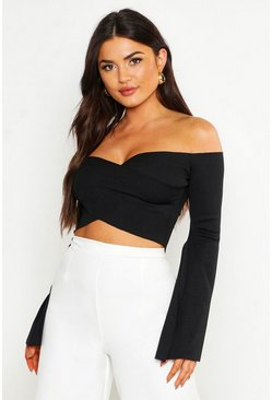 Womens Black Ribbed Off The Shoulder Split Crop Top