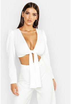 Womens White Puff Sleeve Tie Front Crop