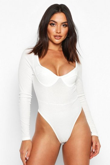 Womens White Ribbed Cup n Seam Detail Bodysuit